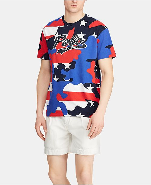 44b09bf6 Polo Ralph Lauren Men's Classic-Fit Camo Jersey Americana T-Shirt, Created  for ...
