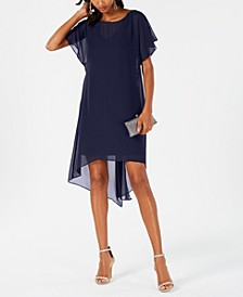 Chiffon-Overlay A-Line Dress