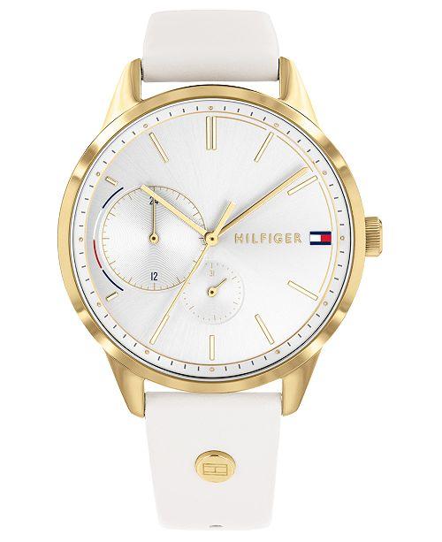 Tommy Hilfiger Women's White Leather Strap Watch 38mm