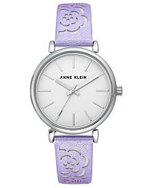Anne Klein Women's Lavender Metallic Strap Watch 36mm
