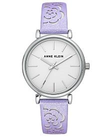 Anne Klein Women's Lavender Metallic Strap Watch 36mm
