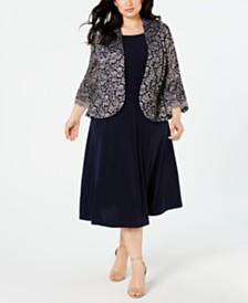 Jessica Howard Plus Size Lace Ruffle-Sleeve Jacket & Dress