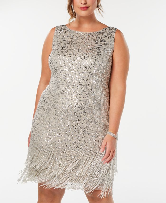 Adrianna Papell Plus Size Hand-Beaded Fringe Shift Dress & Reviews - Dresses - Plus Sizes - Macy's