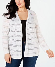 Plus Size Sheer-Striped Cardigan, Created for Macy's
