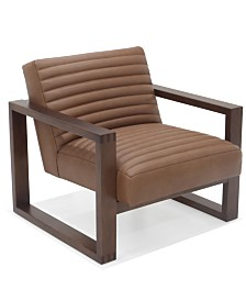 """Hotel Collection Canillo 33"""" Leather and Wood Accent Chair"""