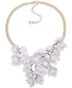 91e458caf DKNY Gold-Tone White Floral Frontal Necklace, 16
