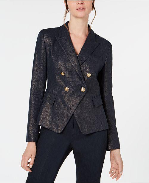 Elie Tahari Jezebel Metallic-Threaded Double-Breasted Blazer