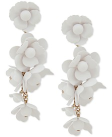 DKNY Gold-Tone White Floral Linear Earrings, Created for Macy's
