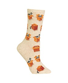Women's Cats in Boxes Fashion Crew Socks
