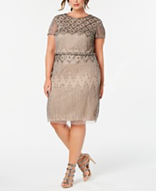 Adrianna Papell Plus Size Hand-Beaded Sheath Dress
