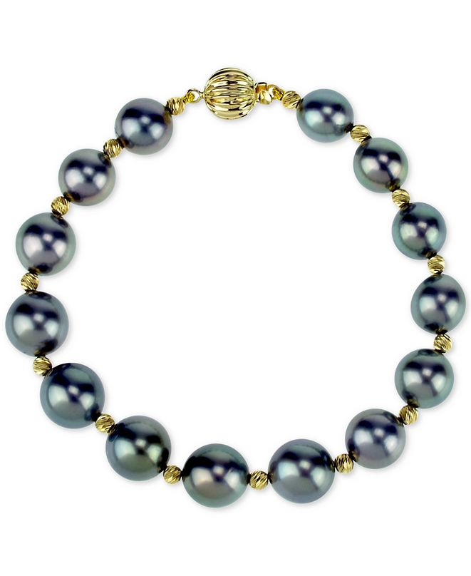 Macy's Cultured Tahitian Pearl (8-10 mm) Bracelet in 14k Gold