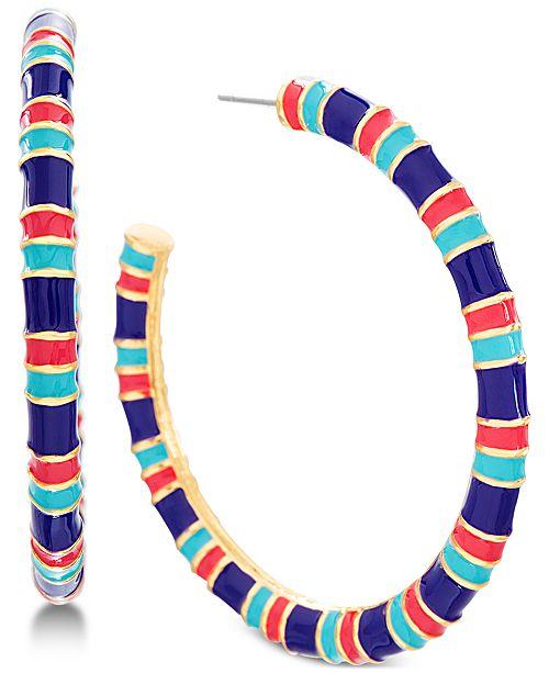 "Steve Madden Gold-Tone Multicolor Open Medium 1-1/2"" Medium Hoop Earrings"