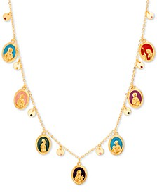 "Gold-Tone Multicolor Charm 15-1/2"" Frontal Necklace"