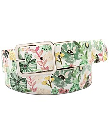 I.N.C. Floral-Print Faux Leather Panel Belt, Created for Macy's