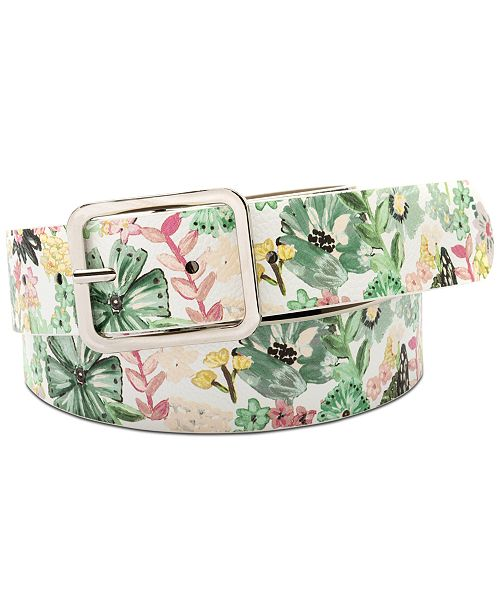 INC International Concepts I.N.C. Floral-Print Faux Leather Panel Belt, Created for Macy's
