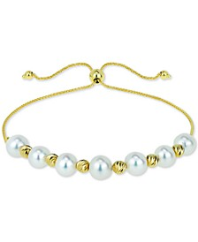 Cultured Freshwater Pearl (6mm) & Bead Bolo Bracelet in 14k Gold