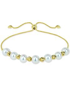 Cultured Freshwater Pearl (6mm) & Bead Bolo Bracelet in 14k Gold