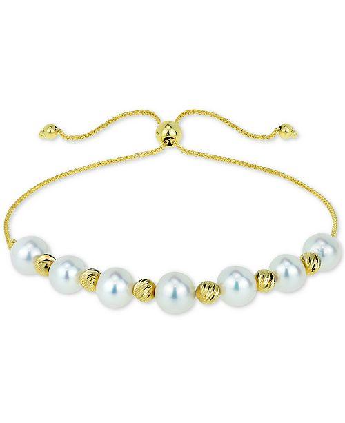 Macy's Cultured Freshwater Pearl (6mm) & Bead Bolo Bracelet in 14k Gold