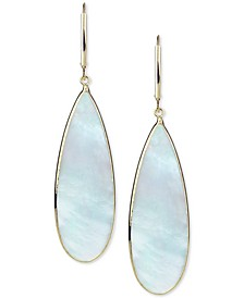 Mother-of-Pearl Teadrop Drop Earrings in 14k Gold