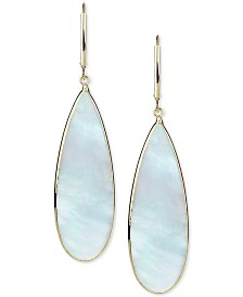 Mother-of-Pearl Teadrop Drop Earrings in 14k Gold