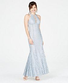 Nightway Glitter Lace Halter Gown