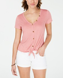 273d561b557 Crave Fame Juniors  Knot-Front Button-Trimmed Top. 4 colors