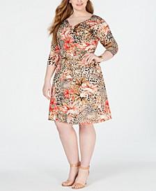 Plus & Petite Plus Size Surplice Printed Dress