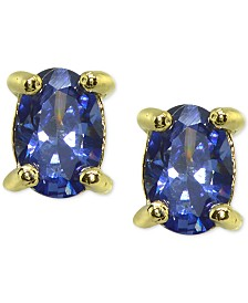 Giani Bernini Imitation Tanzanite Oval Stud Earrings in 18k Gold-Plated Sterling Silver, Created for Macy's