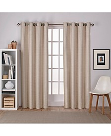 Raw Silk Woven Blackout Grommet Top Curtain Panel Pair