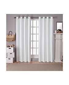 Raw Silk Woven Blackout Grommet Top Curtain Panel Pair