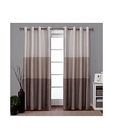 Chateau Striped Faux Silk Grommet Top Curtain Panel Pair