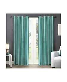 Chatra Faux Silk Grommet Top Curtain Panel Pair