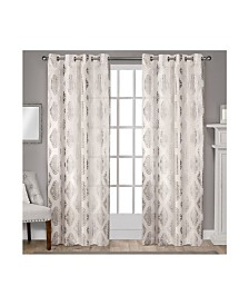 Exclusive Home Augustus Metallic Light Filtering Grommet Top Curtain Panel Pair