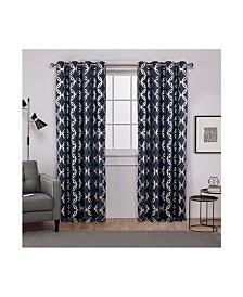 Exclusive Home Modo Metallic Geometric Grommet Top Curtain Panel Pair