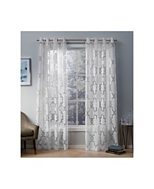 Exclusive Home Essex Geometric Sheer Burnout Grommet Top Curtain Panel Pair