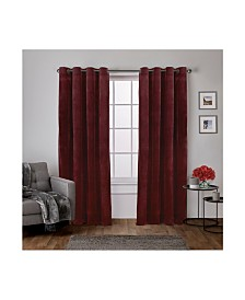 Exclusive Home Velvet Heavyweight Grommet Top Curtain Panel Pair