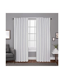 Exclusive Home Zeus Solid Textured Woven Blackout Hidden Tab Curtain Panel Pair