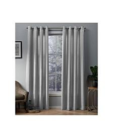 Exclusive Home Whitby Metallic Slub Yarn Textured Silk Look Grommet Top Curtain Panel Pair