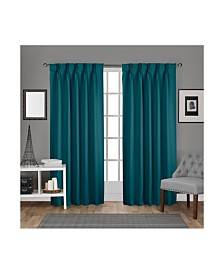 Exclusive Home Sateen Twill Woven Blackout Pinch Pleat Curtain Panel Pair