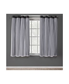 Exclusive Home Catarina Layered Solid Blackout and Sheer Grommet Top Curtain Panel Pair