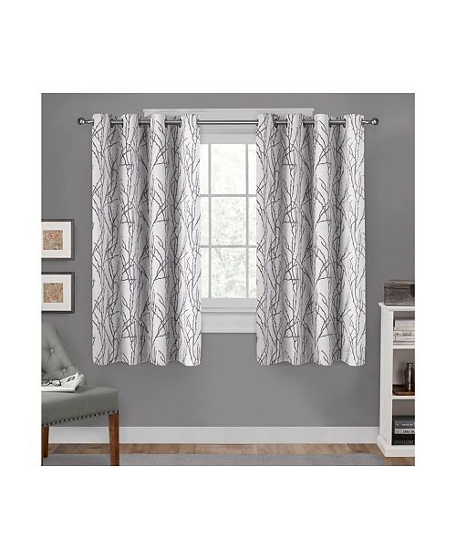 "Exclusive Home Branches Linen Blend Grommet Top Curtain Panel Pair, 54"" x 63"""