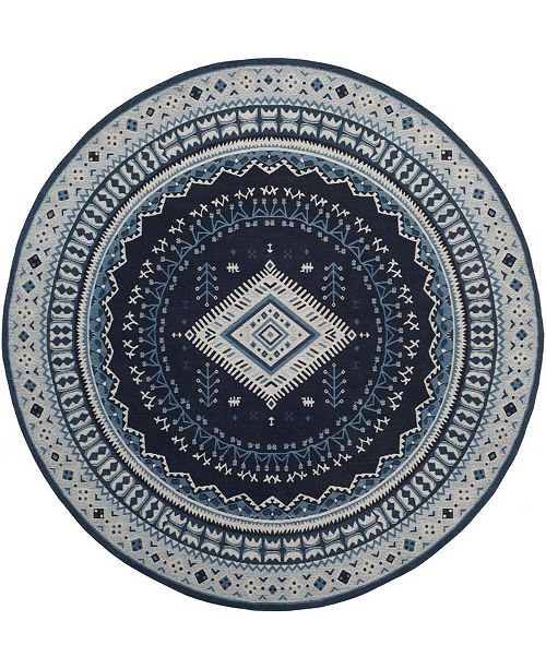 Safavieh Classic Vintage Teal and Black 6' x 6' Round Area Rug