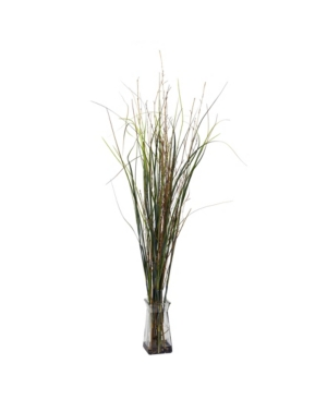 Nearly Natural Grass and Bamboo w/ Glass Vase Silk Plant