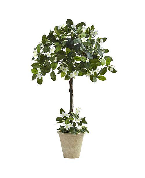 Nearly Natural 3' Stephanotis Topiary w/ Planter