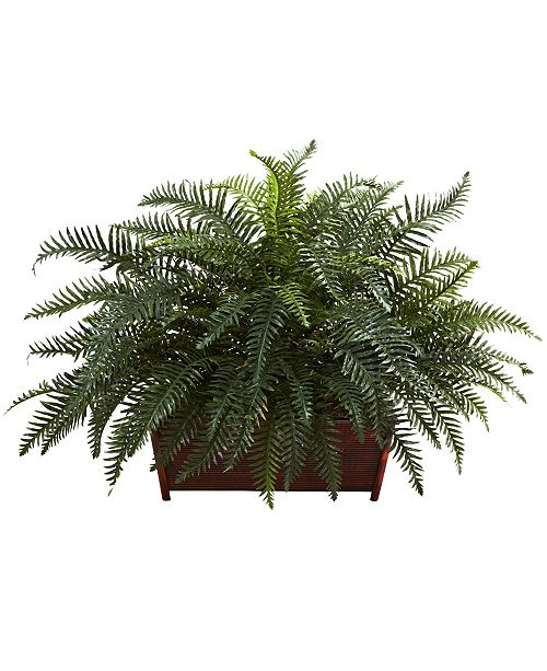 Nearly Natural River Fern w/ Wood Planter
