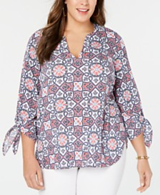 MICHAEL Michael Kors Plus Size Mosaic Tie-Sleeve Top