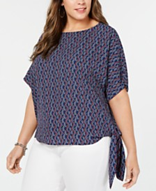 MICHAEL Michael Kors Plus Size Wave Mosaic Printed Side-Tie Top