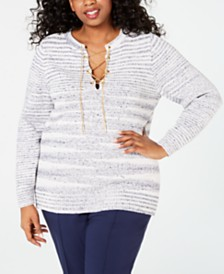 MICHAEL Michael Kors Plus Size Chain Lace-Up Sweater