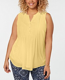 Plus Size Pleated Pintuck Top, Created for Macy's