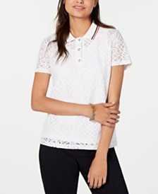 Tommy Hilfiger Lace Polo Top